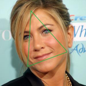 jenifer aniston visage triangle