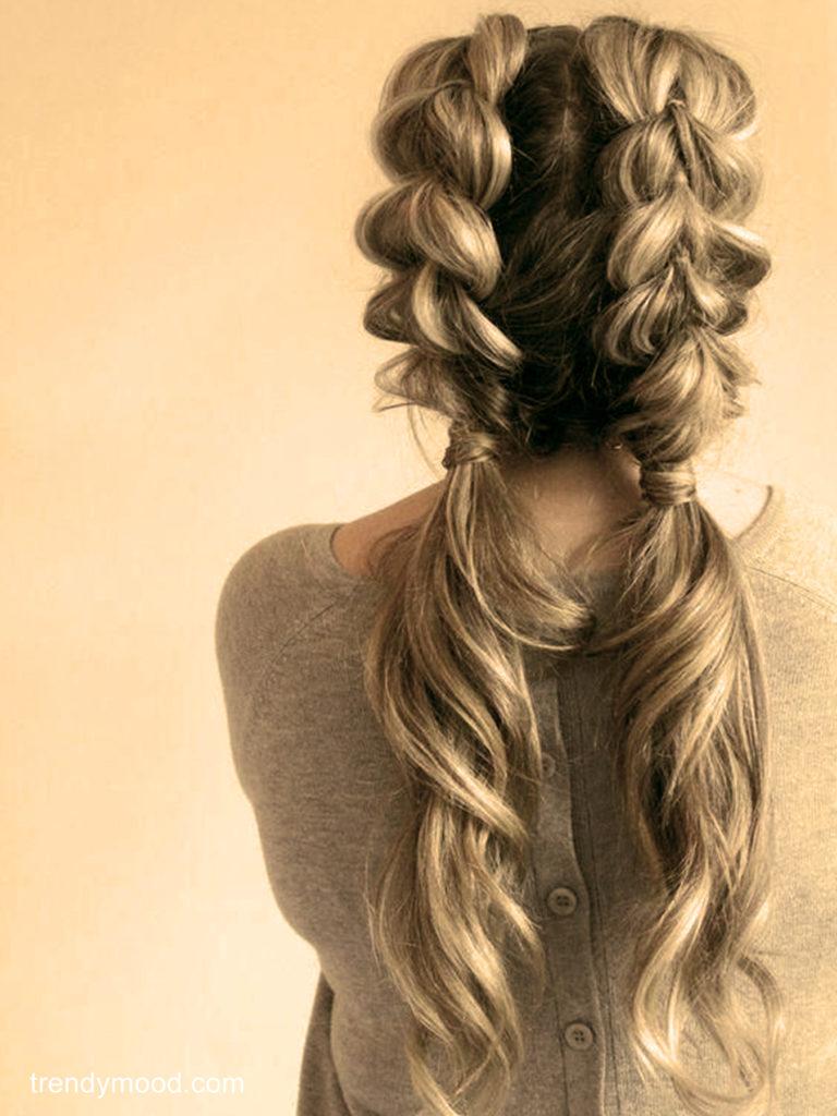 double tresse coiffures faciles maison