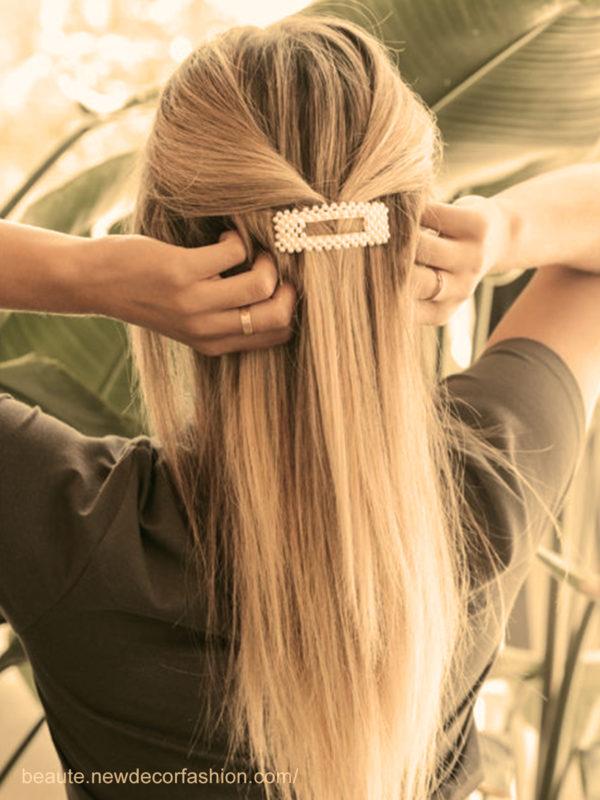 La barrette perlée coiffures faciles maison