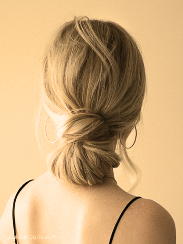 chignon bas coiffures faciles maison