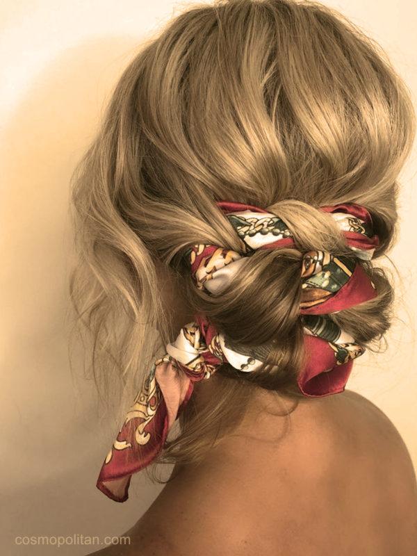 Le foulard entrelacé coiffures faciles maison